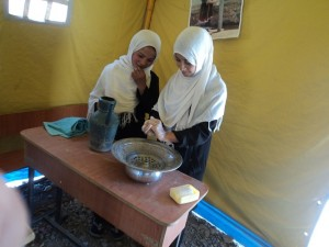 140403 ③Girls students  shows how to wash hands in HE monitoring in Hazrat Zainab Lolanj Girls High School in Surkhe Parsa