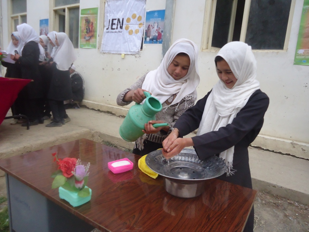 Hand Washing with Soap with singing group at Hazarat Zaibab Turkman school in Surkhi Parsa district